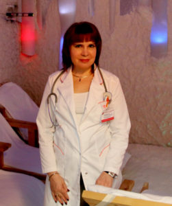 Prof. Alina V. Chervinskaya in the salt room of Clinical Hospital №122 in St. Petersburg