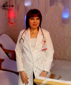 Prof. Alina V. Chervinskaya in the salt room of Clinical Hospital №122 in St. Petersburg